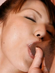 Asuka Ayanami Asian gets cum on tits from sucking two shlongs - Japarn porn pics at JapHole.com