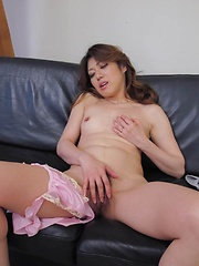 Reina Nishio Asian gets cum on mouth while uses vibrator in peach - Japarn porn pics at JapHole.com