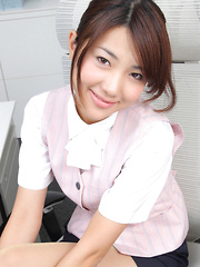 Naoho Ichihashi Asian in fancy outfit sits with ass on the office - Japarn porn pics at JapHole.com