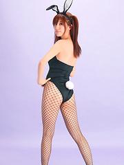 Mana Mizuno Asian bunny shows naughty behind in fishnet stockings - Japarn porn pics at JapHole.com