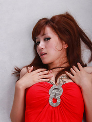 Sandy Asian in red dress is so leering touching her sexy lips - Japarn porn pics at JapHole.com