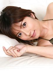 Kaori Tanaka Asian shows juicy boobies in shinny bra in her bed - Japarn porn pics at JapHole.com