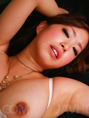 Emiri Senoo Asian in stockings licks cocks and has cunt fingered - Japarn porn pics at JapHole.com