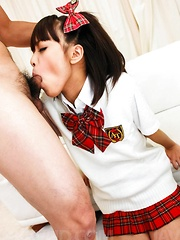 Rin Yuzuki Asian in uniform sucks tools and gets dildo in asshole - Japarn porn pics at JapHole.com