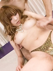 Ai Sakura Asian with big tits sucks strong cock and gets it doggy - Japarn porn pics at JapHole.com
