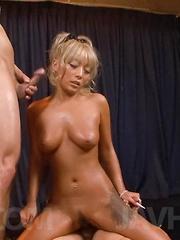 Rina Aina Asian with long nails and big boobs licks two shlongs - Japarn porn pics at JapHole.com