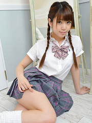 Mizuho Shiraishi Asian with sexy pigtails shows ass under skirt - Japarn porn pics at JapHole.com