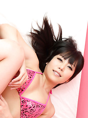 Maria Akamine Asian shows big assets in pink lingerie in her bed - Japarn porn pics at JapHole.com