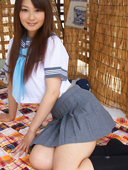 Misaki Nito Asian in school uniform goes to classes riding bike - Japarn porn pics at JapHole.com