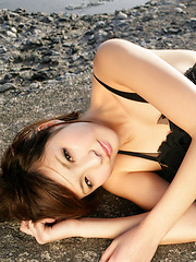 Rina Nagasaki Asian in see through lingerie shows legs on rocks - Japarn porn pics at JapHole.com