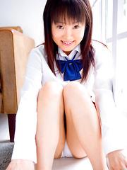 Kana Moriyama Asian takes uniform off piece by piece at window