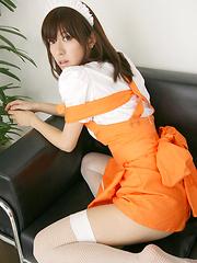 Mana Mizuno Asian in fishnets shows hot ass in kinky uniform - Japarn porn pics at JapHole.com