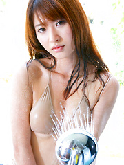 Saki Yamaguchi Asian puts shower water on her big cans over bra - Japarn porn pics at JapHole.com