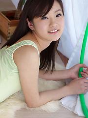 Kana Yuuki Asian in spandex outfit and socks plays with circle - Japarn porn pics at JapHole.com