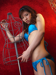 Cocoro Amachi Asian in blue bath suit is incredibly appetizing - Japarn porn pics at JapHole.com