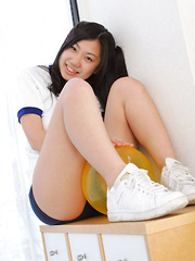 Miho Takai Asian in sports outfit is sexy while playing with ball - Japarn porn pics at JapHole.com