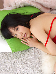 Yuri Hamada Asian with big assets in red lingerie is leering doll - Japarn porn pics at JapHole.com