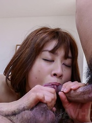 Maki Sarada Asian sucks dongs and gets them in double teaming - Japarn porn pics at JapHole.com