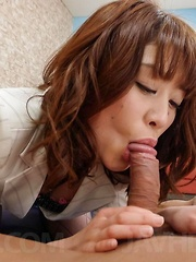 Maki Sarada Asian is fucked in hairy beaver after sucking penis - Japarn porn pics at JapHole.com