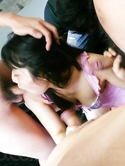 Chiharu Asian busty has cum pouring from mouth from sucked tools - Japarn porn pics at JapHole.com