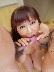 Reiko Shimura Asian sucks, strokes cocks and rubs twat at school - Japarn porn pics at JapHole.com
