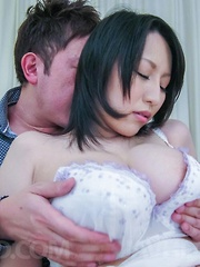 Yuuna Hoshisaki Asian busty has dark nooky pumped by sucked dong