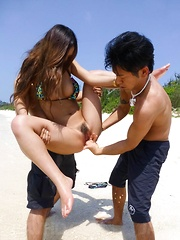 Yui Nanase Asian has mouth and crack fucked same time on beach - Japarn porn pics at JapHole.com
