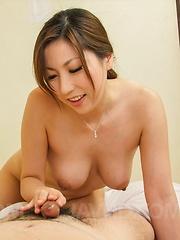 Mirei Yokoyama Asian undresses and gives man blowjob and footjob - Japarn porn pics at JapHole.com