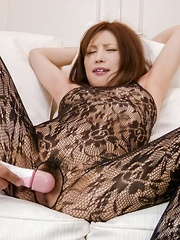 Tsubasa Aihara with vibrator through crotchless gets cum on face - Japarn porn pics at JapHole.com