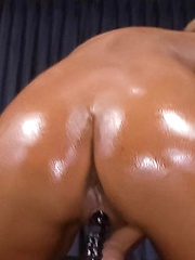 Riku Hinano Asian with oiled curves fucks shaved cunt with dildo - Japarn porn pics at JapHole.com