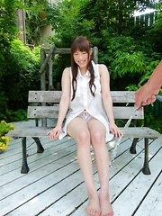 Yuri Sato Asian is washed with hose in asshole and crack outdoor