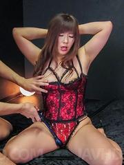 Reiko Shimura in kinky corset has clit under vibrator in fucking - Japarn porn pics at JapHole.com