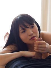 Sweet Japanese girl Iori Sana strokes his penis - Japarn porn pics at JapHole.com