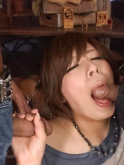 Ririsu Ayaka Asian busty gets cock between lips and lower lips - Japarn porn pics at JapHole.com