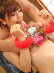 Cuffed Asian teen loves suckling this cock - Japarn porn pics at JapHole.com