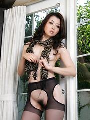 Black lingerie looks good on Sayuri Shiraishi - Japarn porn pics at JapHole.com