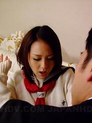Stunning Rui Natsukawa gets fucked on bed - Japarn porn pics at JapHole.com