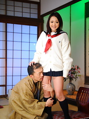 Arousing girl Rui Natsukawa sits on servant - Japarn porn pics at JapHole.com