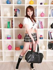 Sexy babe Izumi Tachibana teases in uniform - Japarn porn pics at JapHole.com