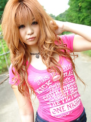 Sensual young Sarina Tsubaki strips outdoor - Japarn porn pics at JapHole.com