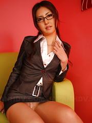 Sexy brunette Julia Nanase bends over couch - Japarn porn pics at JapHole.com