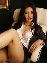 Dark haired Julia Nanase strips at her work - Japarn porn pics at JapHole.com
