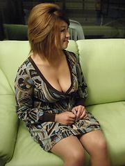 Japanese wife Miwa Nishiki gives a blowjob - Japarn porn pics at JapHole.com