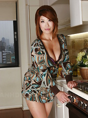Sexy busty Miwa Nishiki poses in her kitchen - Japarn porn pics at JapHole.com