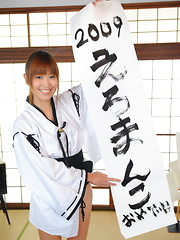 Nasty teen Yuuno Hoshi does nude calligraphy - Japarn porn pics at JapHole.com
