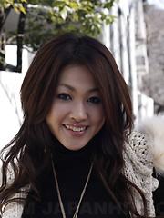 Arousing dark haired Yu Yamashita poses in park - Japarn porn pics at JapHole.com