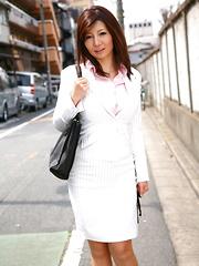 Sweet Sayuri Mikami poses in business suit - Japarn porn pics at JapHole.com