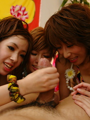 Randy arousing Japanese girls share a dick - Japarn porn pics at JapHole.com