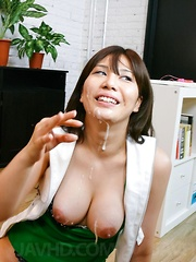 Karen Natsuhara has big cans touched with hard dicks and gets cum - Japarn porn pics at JapHole.com