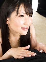 Sakaida Minami licking and masturbating his dick - Japarn porn pics at JapHole.com